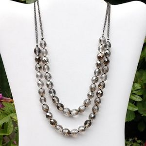 WHBM clear and smoky crystal necklace